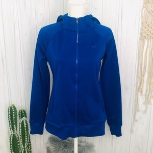 Semi-fitted blue under armour lined hoodie